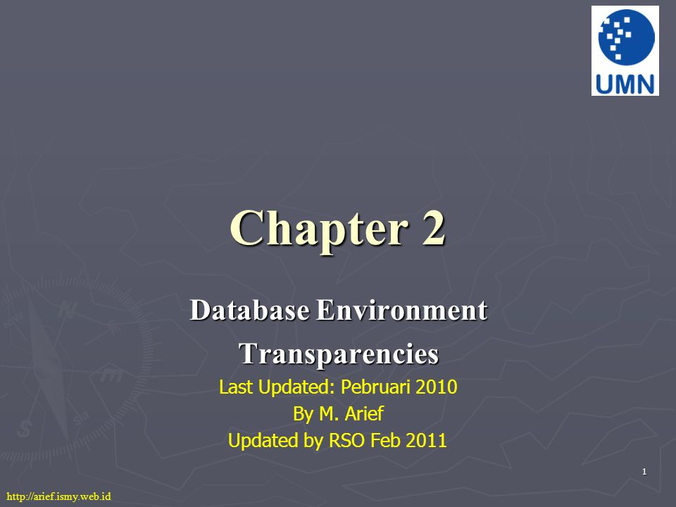 1 Chapter 2 Database Environment Transparencies Last Updated: Pebruari 2010 By M.