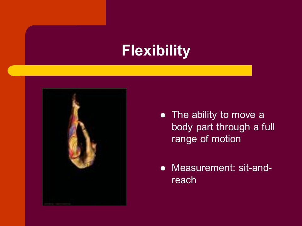 Flexibility The ability to move a body part through a full range of motion Measurement: sit-and- reach