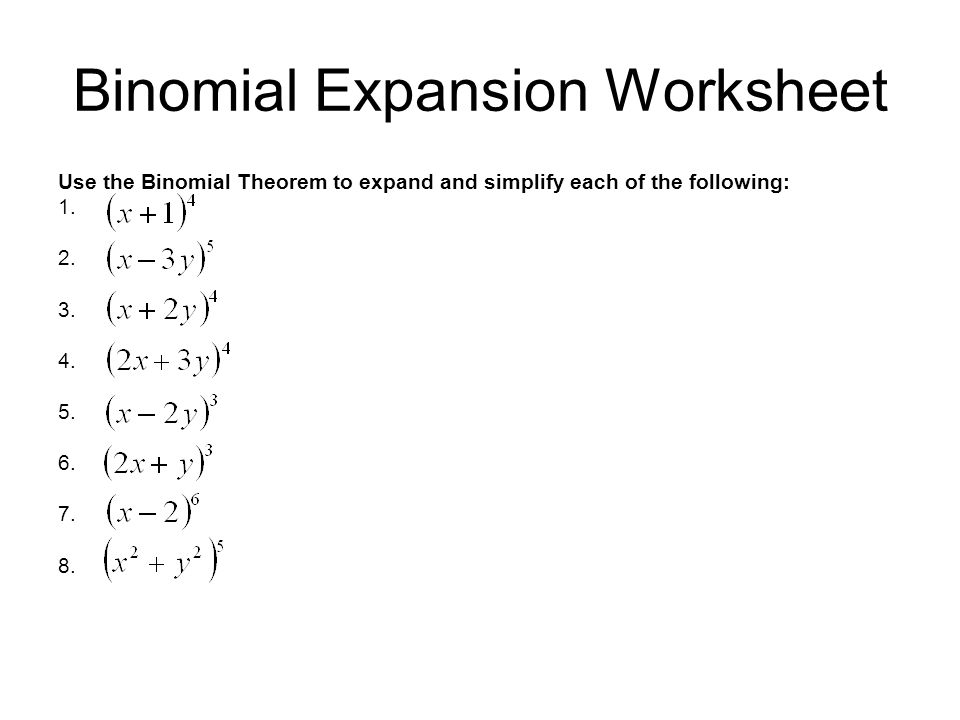 Worksheets Binomial Theorem Worksheet college algebra exam 1 material special binomial products to expansion worksheet use the theorem expand and simplify each of following