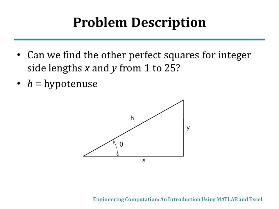 Problem Description Can we find the other perfect squares for integer side lengths x and y from 1 to 25.