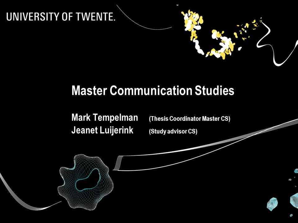 Master thesis advisor