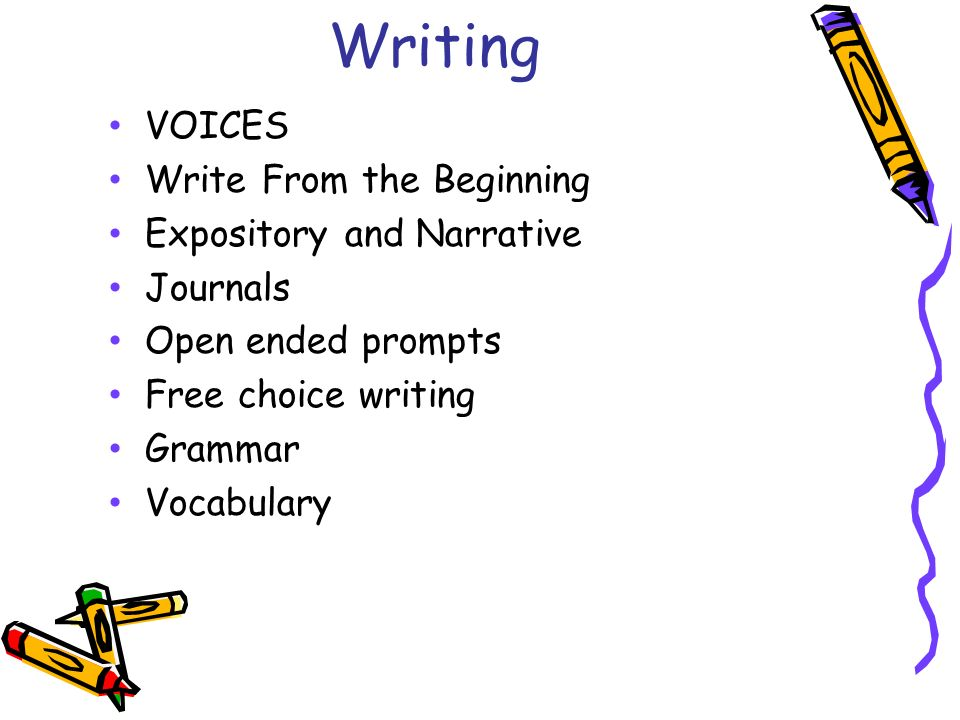 Writing VOICES Write From the Beginning Expository and Narrative Journals Open ended prompts Free choice writing Grammar Vocabulary