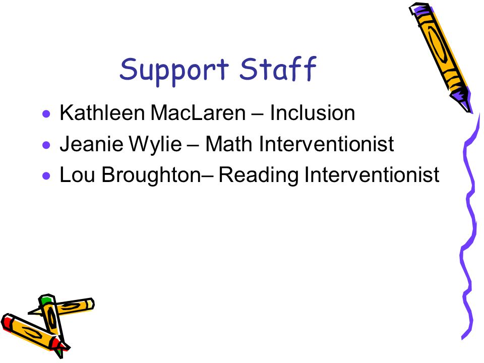 Support Staff  Kathleen MacLaren – Inclusion  Jeanie Wylie – Math Interventionist  Lou Broughton– Reading Interventionist