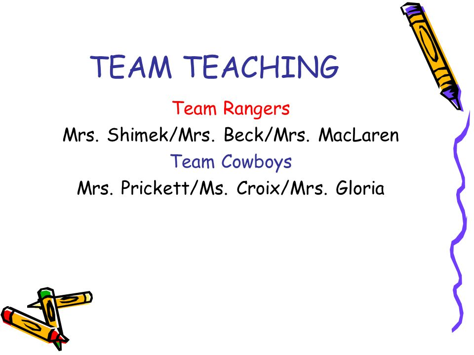 TEAM TEACHING Team Rangers Mrs. Shimek/Mrs. Beck/Mrs.