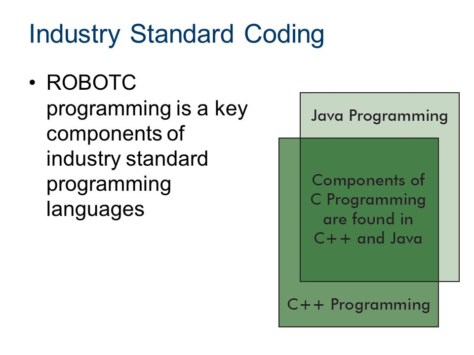 Industry Standard Coding ROBOTC programming is a key components of industry standard programming languages
