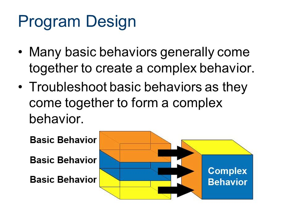 Program Design Many basic behaviors generally come together to create a complex behavior.