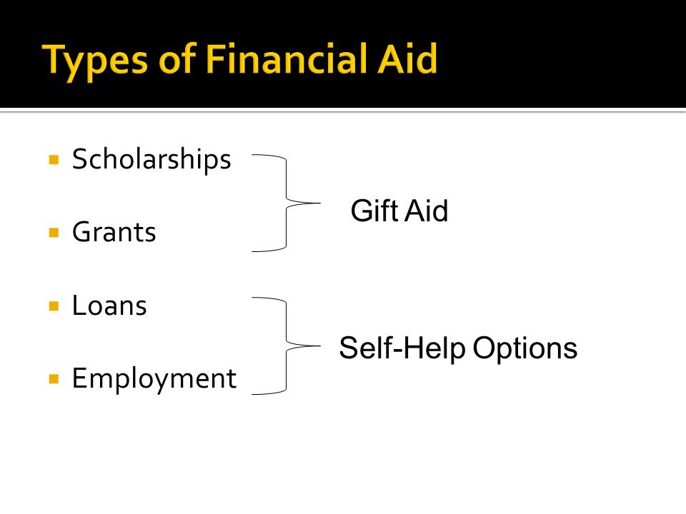  Scholarships  Grants  Loans  Employment Gift Aid Self-Help Options