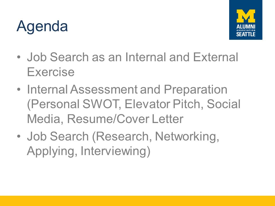 Agenda Job Search as an Internal and External Exercise Internal Assessment and Preparation (Personal SWOT, Elevator Pitch, Social Media, Resume/Cover Letter Job Search (Research, Networking, Applying, Interviewing)