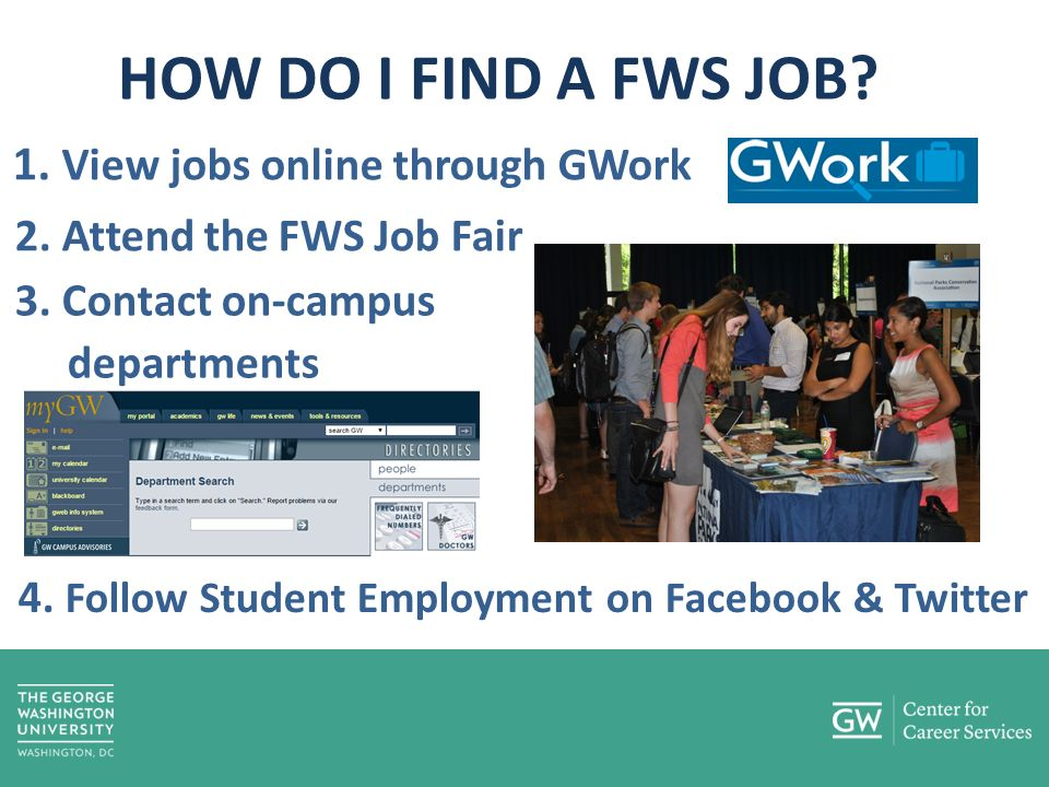 HOW DO I FIND A FWS JOB. 1. View jobs online through GWork 2.