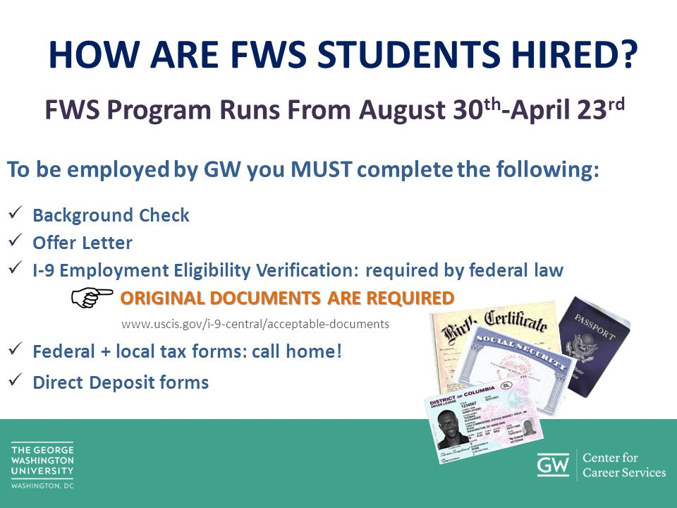 HOW ARE FWS STUDENTS HIRED.