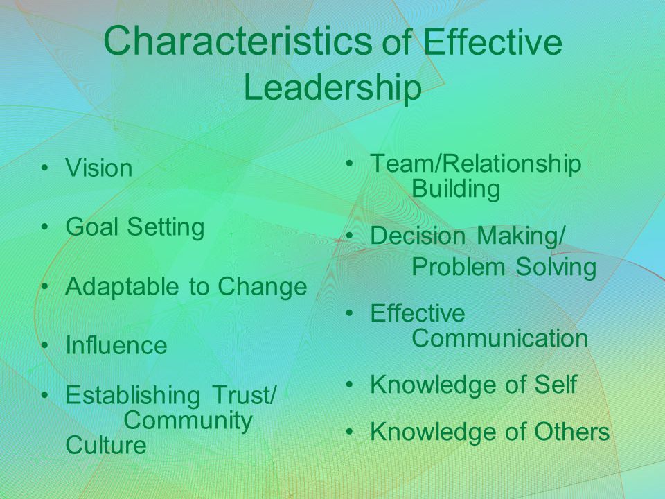 Characteristics of Effective Leadership Vision Goal Setting Adaptable to Change Influence Establishing Trust/ Community Culture Team/Relationship Buil