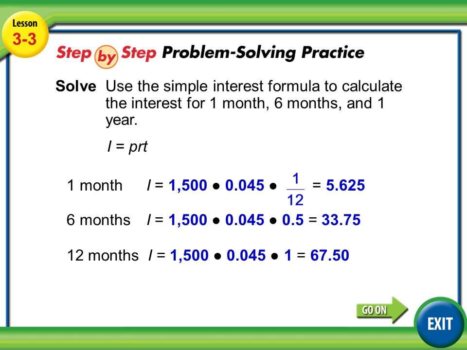 Solving Simple Interest Problems