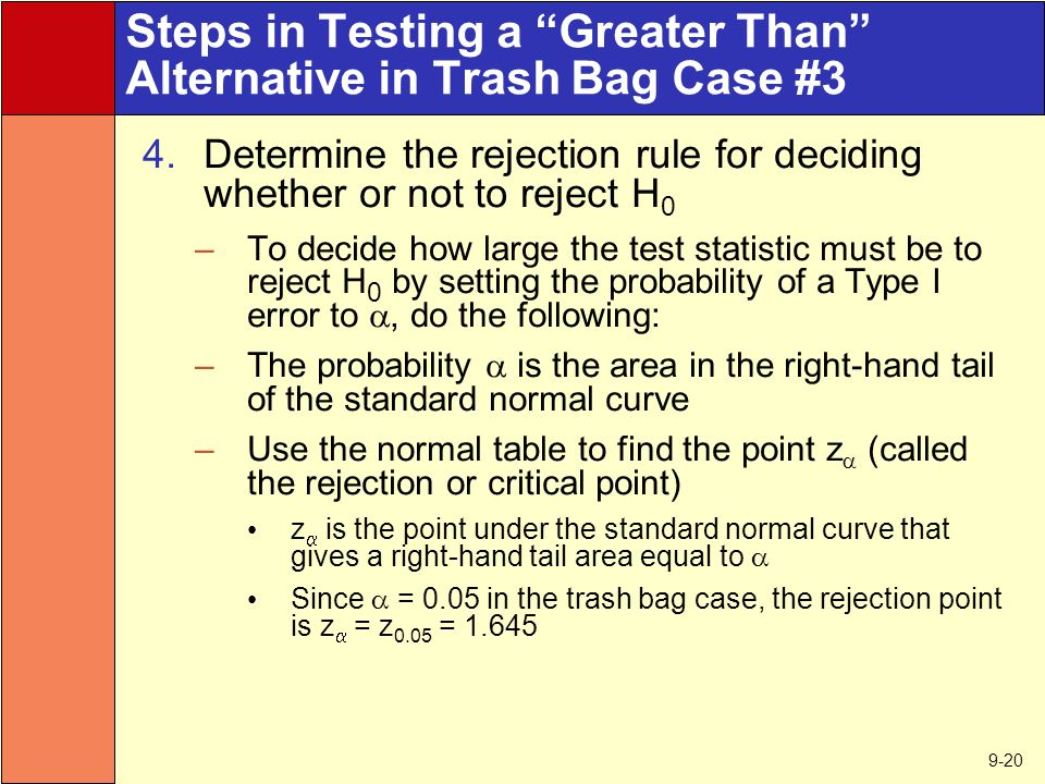 9-20 Steps in Testing a Greater Than Alternative in Trash Bag Case #3 4.Determine the rejection rule for deciding whether or not to reject H 0 –To decide how large the test statistic must be to reject H 0 by setting the probability of a Type I error to , do the following: –The probability  is the area in the right-hand tail of the standard normal curve –Use the normal table to find the point z  (called the rejection or critical point) z  is the point under the standard normal curve that gives a right-hand tail area equal to  Since  = 0.05 in the trash bag case, the rejection point is z  = z 0.05 = 1.645