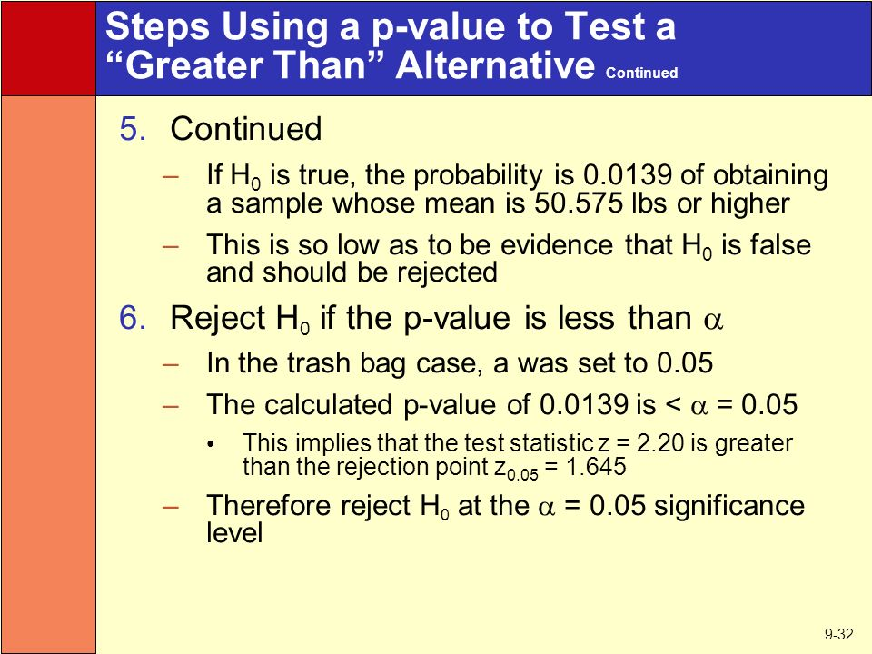 9-32 Steps Using a p-value to Test a Greater Than Alternative Continued 5.Continued –If H 0 is true, the probability is of obtaining a sample whose mean is lbs or higher –This is so low as to be evidence that H 0 is false and should be rejected 6.Reject H 0 if the p-value is less than  –In the trash bag case, a was set to 0.05 –The calculated p-value of is <  = 0.05 This implies that the test statistic z = 2.20 is greater than the rejection point z 0.05 = –Therefore reject H 0 at the  = 0.05 significance level