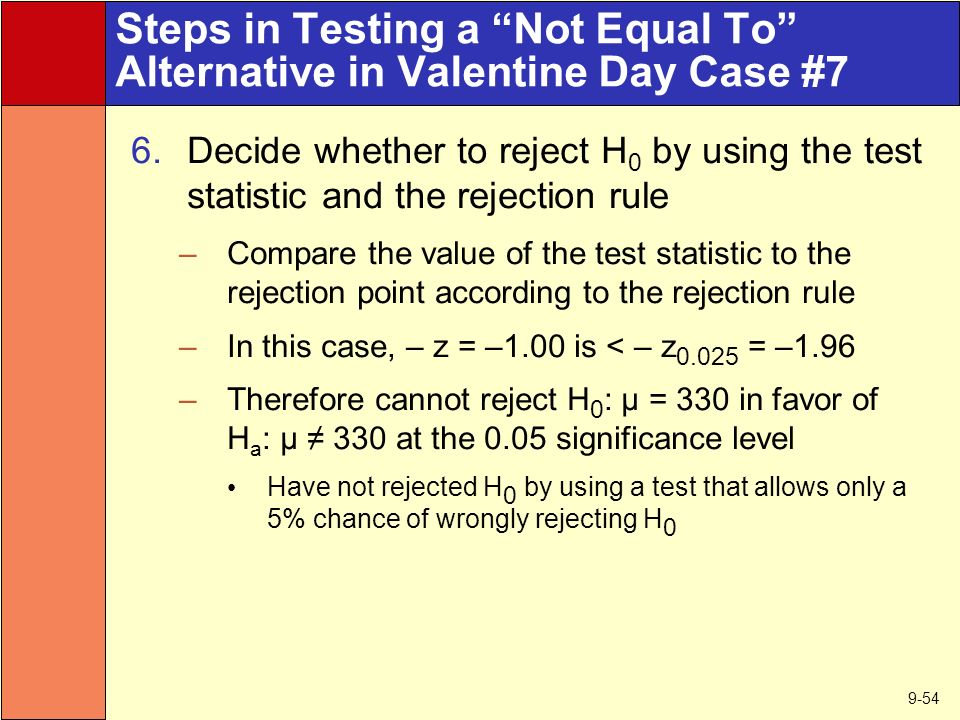 9-54 Steps in Testing a Not Equal To Alternative in Valentine Day Case #7 6.Decide whether to reject H 0 by using the test statistic and the rejection rule –Compare the value of the test statistic to the rejection point according to the rejection rule –In this case, – z = –1.00 is < – z = –1.96 –Therefore cannot reject H 0 : µ = 330 in favor of H a : µ ≠ 330 at the 0.05 significance level Have not rejected H 0 by using a test that allows only a 5% chance of wrongly rejecting H 0