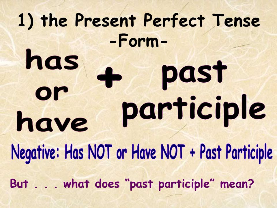 1) the Present Perfect Tense Another common use of the Present Perfect is...