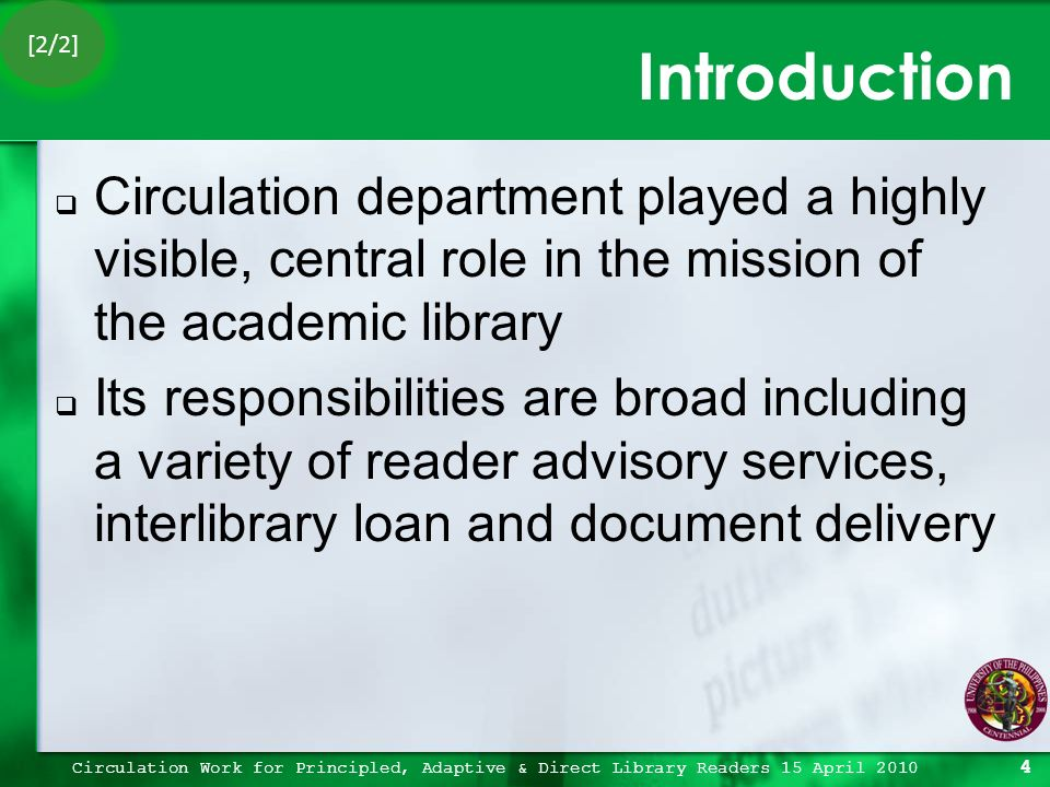 What is the role of the circulation department?