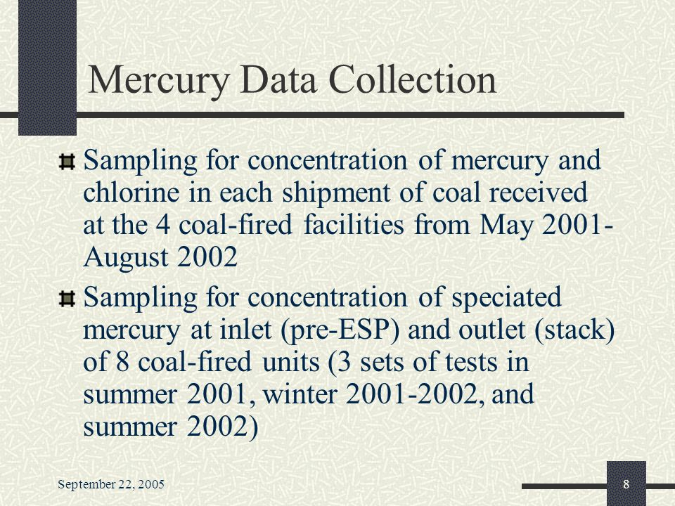 September 22, Mercury Data Collection Sampling for concentration of mercury and chlorine in each shipment of coal received at the 4 coal-fired facilities from May August 2002 Sampling for concentration of speciated mercury at inlet (pre-ESP) and outlet (stack) of 8 coal-fired units (3 sets of tests in summer 2001, winter , and summer 2002)