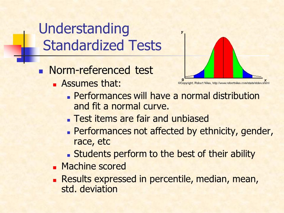 Understanding Standardized Tests Norm-referenced test Assumes that: Performances will have a normal distribution and fit a normal curve.