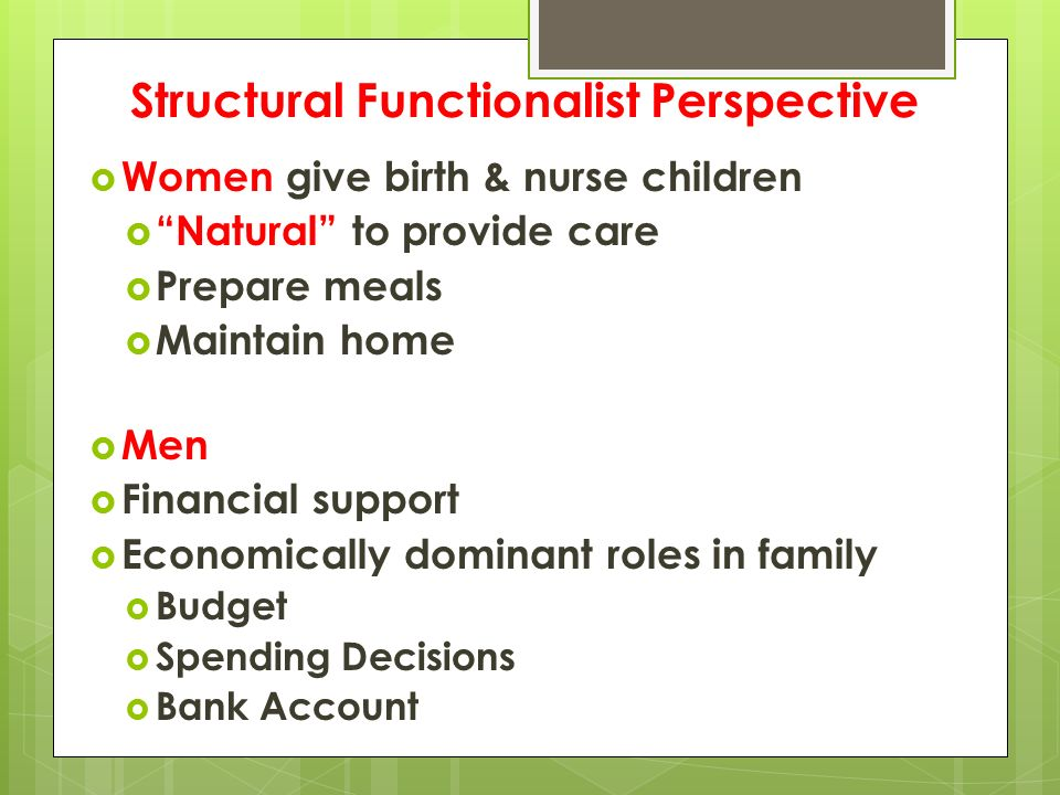 Structural Functionalist Perspective  Women give birth & nurse children  Natural to provide care  Prepare meals  Maintain home  Men  Financial support  Economically dominant roles in family  Budget  Spending Decisions  Bank Account