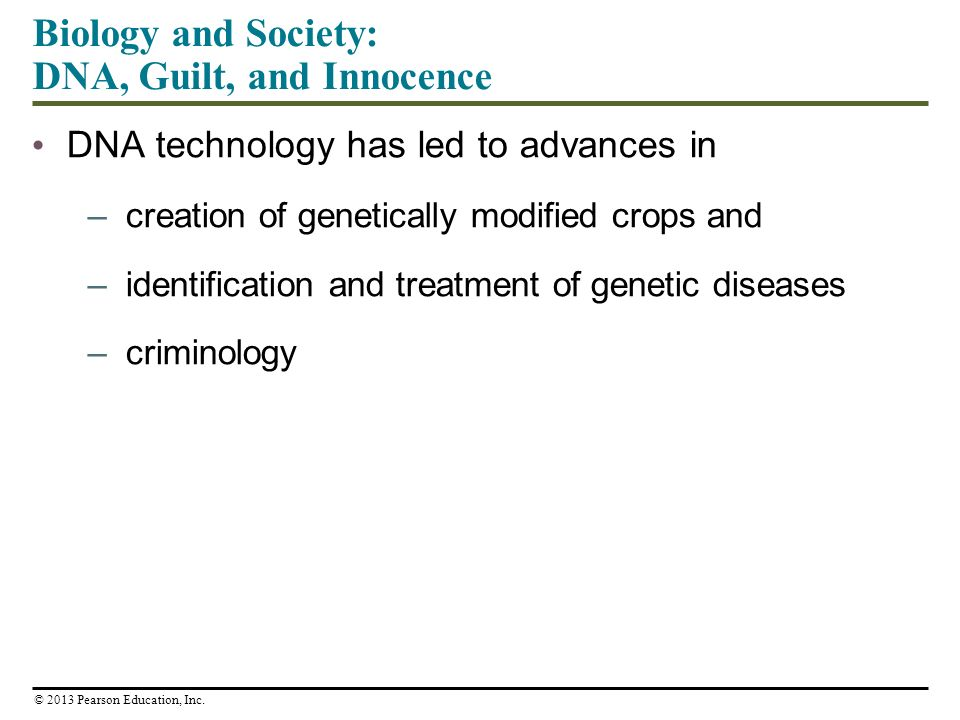 DNA technology has led to advances in –creation of genetically modified crops and –identification and treatment of genetic diseases –criminology Biology and Society: DNA, Guilt, and Innocence © 2013 Pearson Education, Inc.