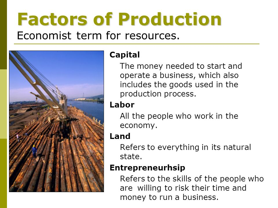 Capital The money needed to start and operate a business, which also includes the goods used in the production process.