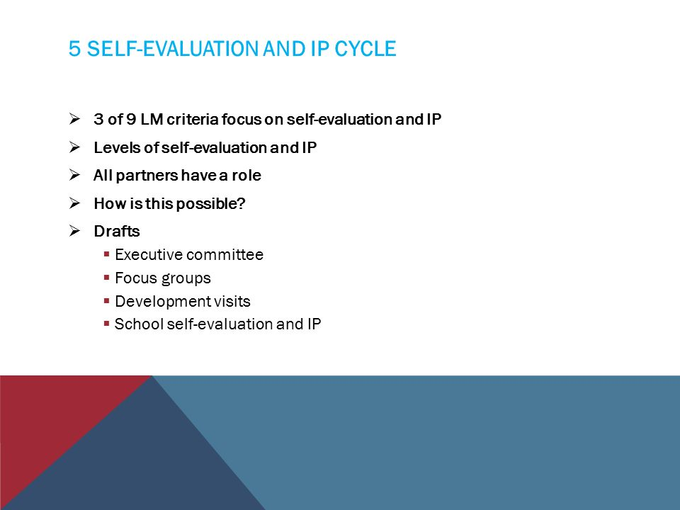 5 SELF-EVALUATION AND IP CYCLE  3 of 9 LM criteria focus on self-evaluation and IP  Levels of self-evaluation and IP  All partners have a role  How is this possible.