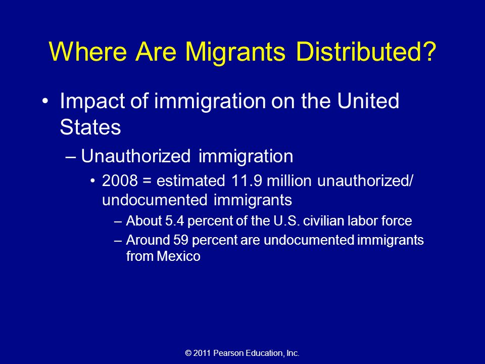 © 2011 Pearson Education, Inc. Where Are Migrants Distributed.