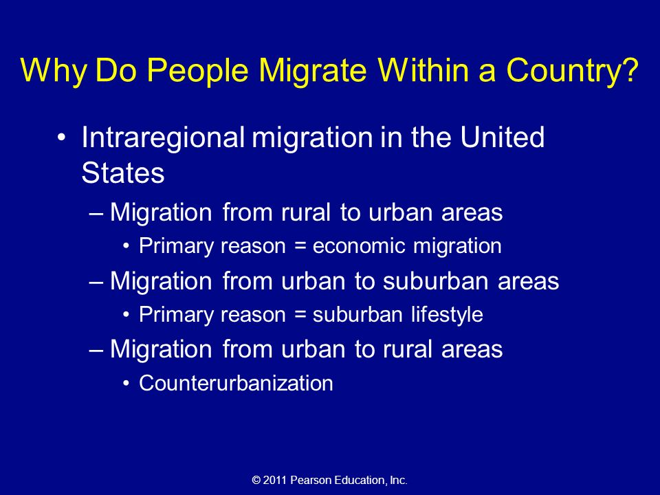 © 2011 Pearson Education, Inc. Why Do People Migrate Within a Country.