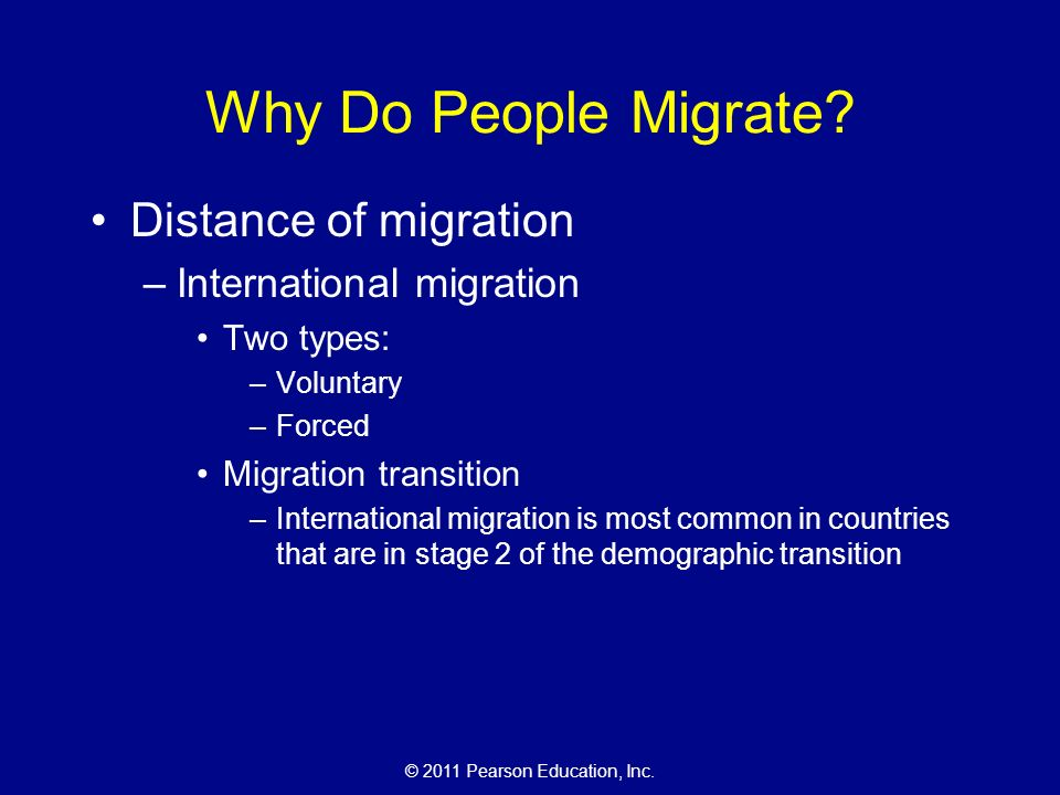 © 2011 Pearson Education, Inc. Why Do People Migrate.