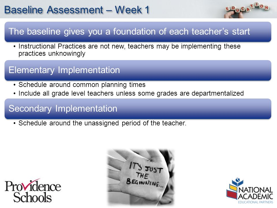 YOUR LOGO Baseline Assessment – Week 1 The baseline gives you a foundation of each teacher's start Instructional Practices are not new, teachers may be implementing these practices unknowingly Elementary Implementation Schedule around common planning times Include all grade level teachers unless some grades are departmentalized Secondary Implementation Schedule around the unassigned period of the teacher.