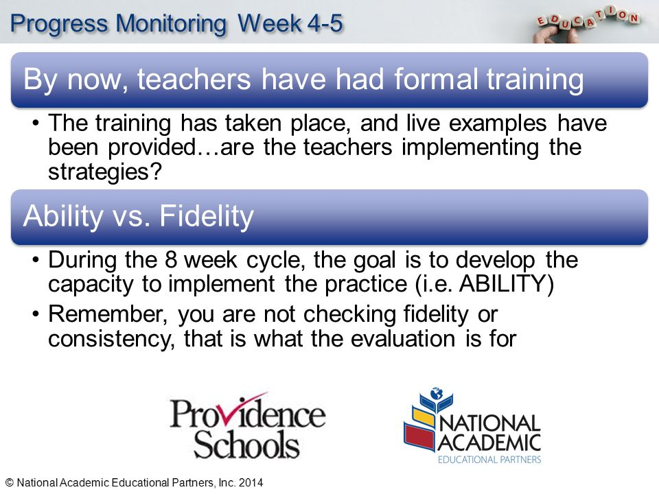 YOUR LOGO Progress Monitoring Week 4-5 By now, teachers have had formal training The training has taken place, and live examples have been provided…are the teachers implementing the strategies.