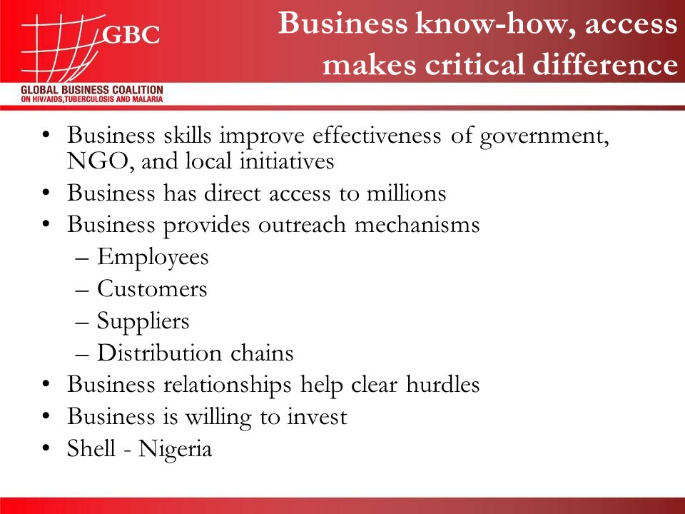 Business skills improve effectiveness of government, NGO, and local initiatives Business has direct access to millions Business provides outreach mechanisms –Employees –Customers –Suppliers –Distribution chains Business relationships help clear hurdles Business is willing to invest Shell - Nigeria Business know-how, access makes critical difference