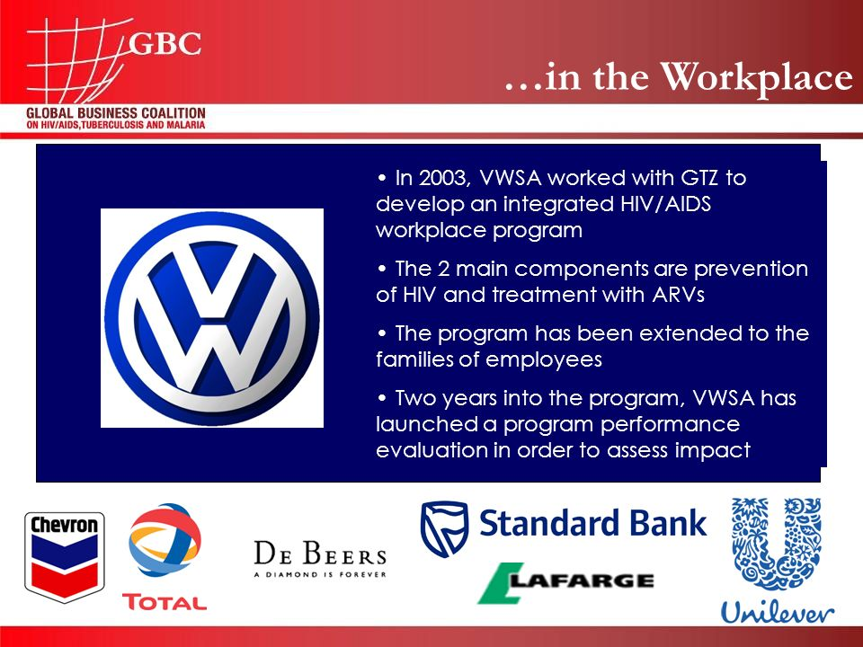 …in the Workplace In 2003, VWSA worked with GTZ to develop an integrated HIV/AIDS workplace program The 2 main components are prevention of HIV and treatment with ARVs The program has been extended to the families of employees Two years into the program, VWSA has launched a program performance evaluation in order to assess impact