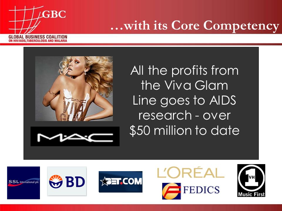 …with its Core Competency All the profits from the Viva Glam Line goes to AIDS research - over $50 million to date