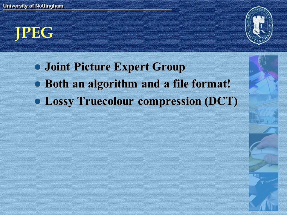 JPEG Joint Picture Expert Group Joint Picture Expert Group Both an algorithm and a file format.