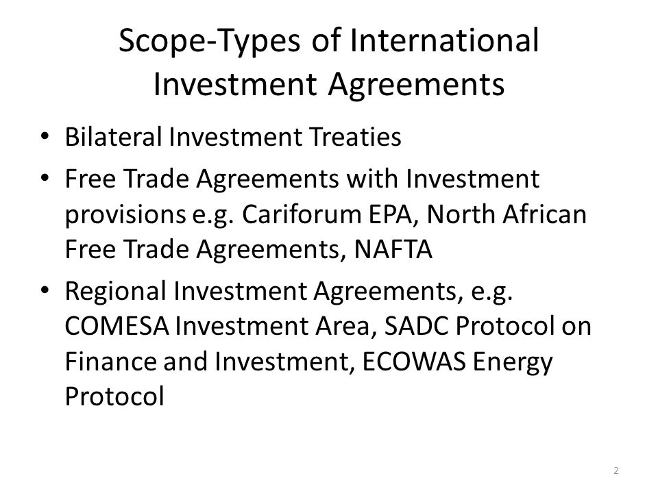 Bilateral Investment Treaties and Regional Initiatives and – Investment Agreement