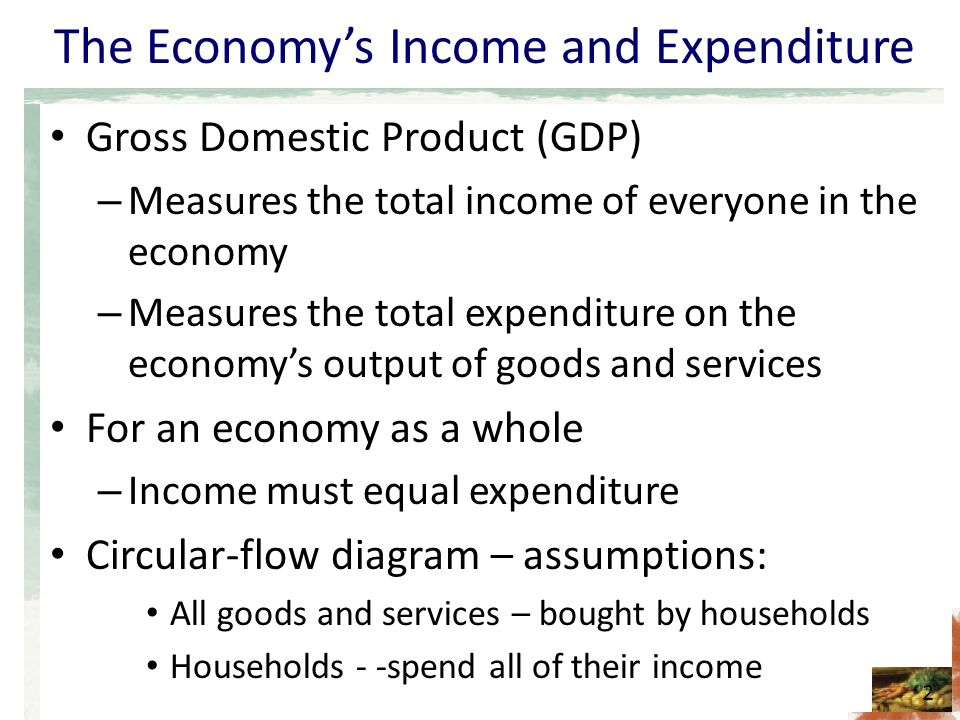 The Economy's Income and Expenditure Gross Domestic Product (GDP) – Measures the total income of everyone in the economy – Measures the total expenditure on the economy's output of goods and services For an economy as a whole – Income must equal expenditure Circular-flow diagram – assumptions: All goods and services – bought by households Households - -spend all of their income 2