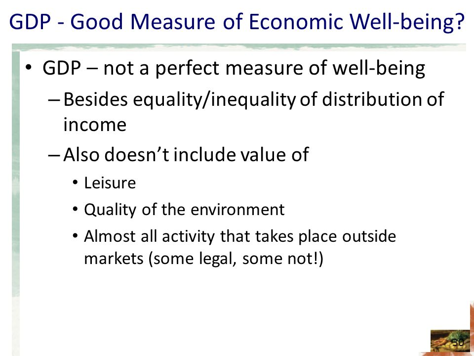 GDP - Good Measure of Economic Well-being.