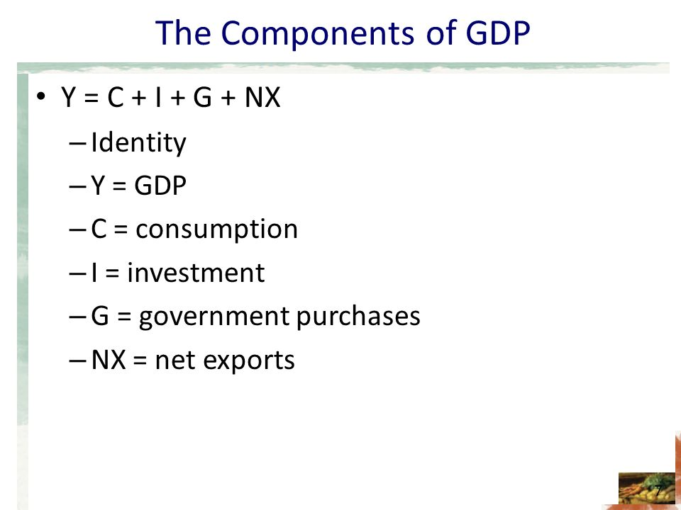 The Components of GDP Y = C + I + G + NX – Identity – Y = GDP – C = consumption – I = investment – G = government purchases – NX = net exports 7