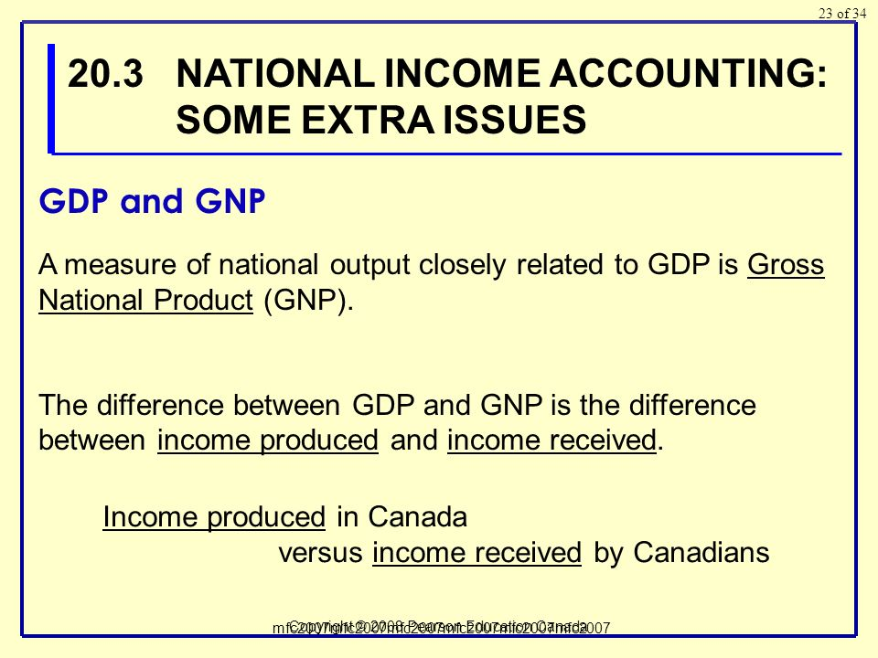 of 34 Copyright © 2008 Pearson Education Canada 23 A measure of national output closely related to GDP is Gross National Product (GNP).