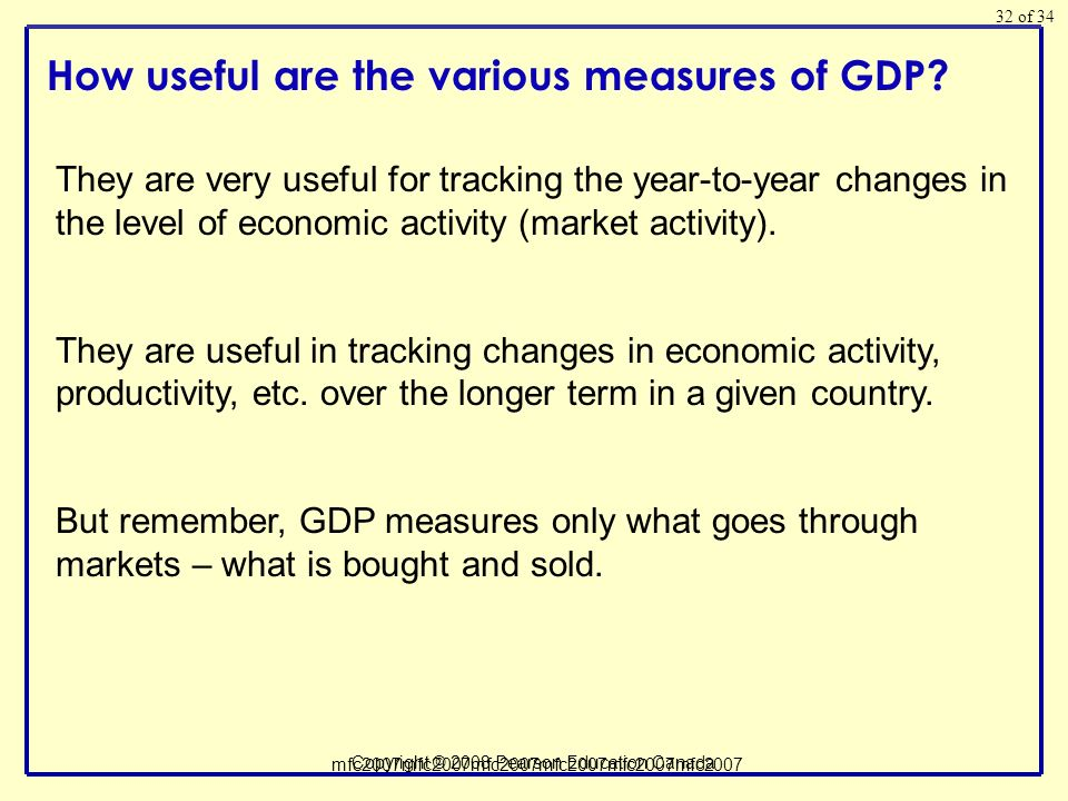 of 34 Copyright © 2008 Pearson Education Canada 32 How useful are the various measures of GDP.