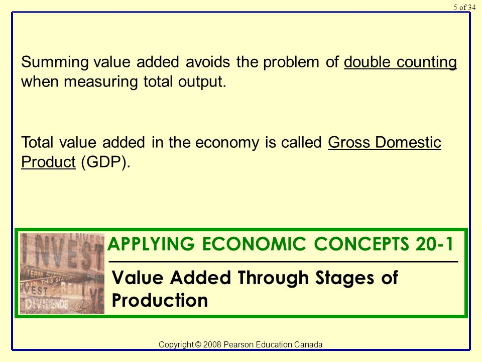 of 34 Copyright © 2008 Pearson Education Canada 5 Total value added in the economy is called Gross Domestic Product (GDP).