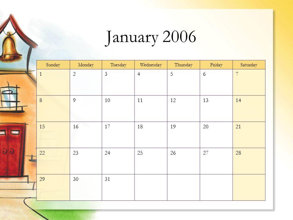 January 2006 SundayMondayTuesdayWednesdayThursdayFridaySaturday 1234567 891011121314 15161718192021 22232425262728 293031