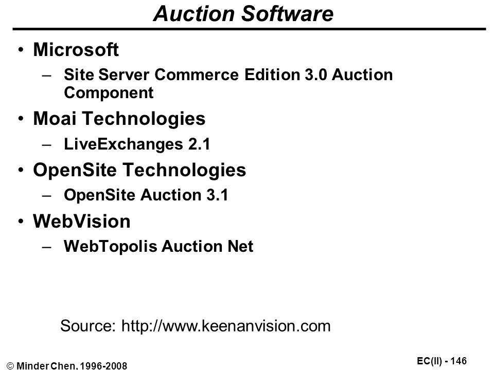EC(II) © Minder Chen, Auction Software Microsoft –Site Server Commerce Edition 3.0 Auction Component Moai Technologies –LiveExchanges 2.1 OpenSite Technologies –OpenSite Auction 3.1 WebVision –WebTopolis Auction Net Source: