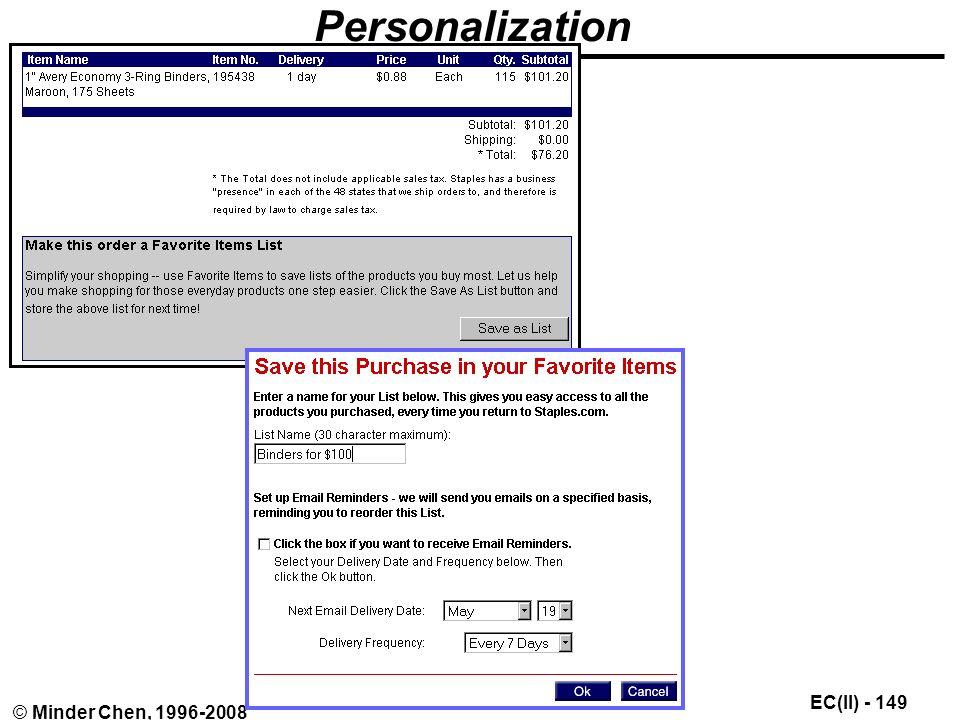 EC(II) - 149 © Minder Chen, 1996-2008 Personalization