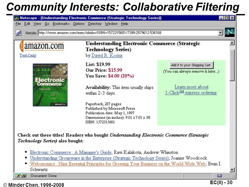 EC(II) - 30 © Minder Chen, Community Interests: Collaborative Filtering