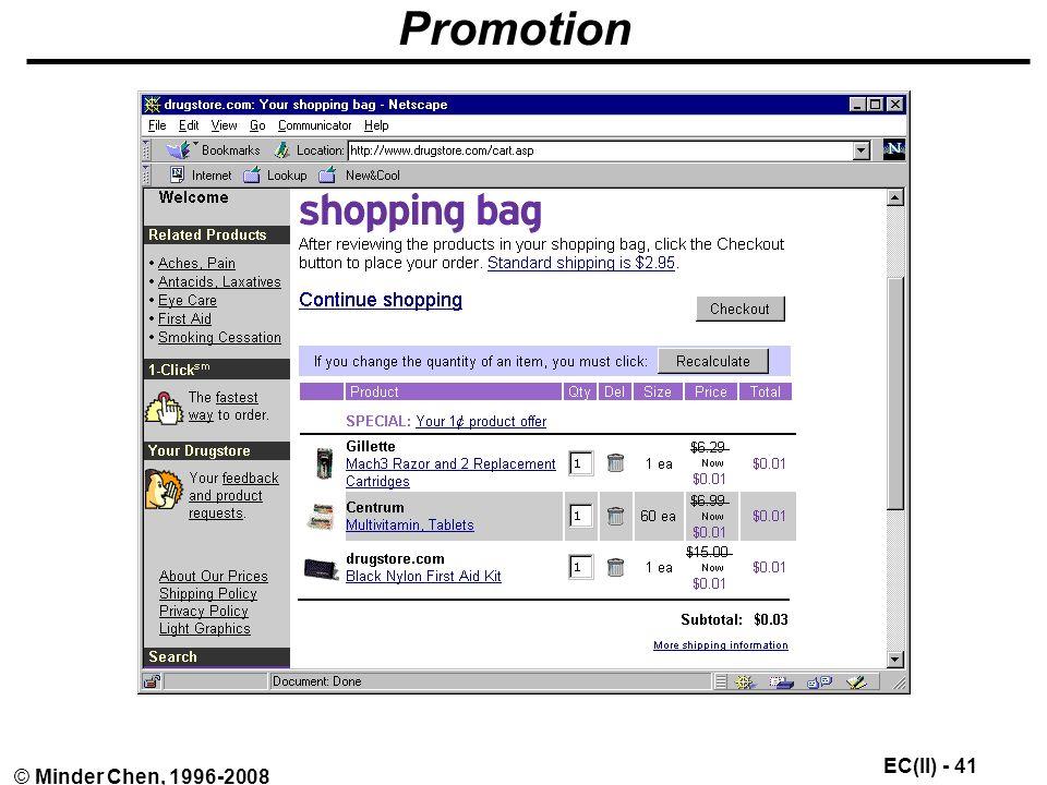 EC(II) - 41 © Minder Chen, 1996-2008 Promotion