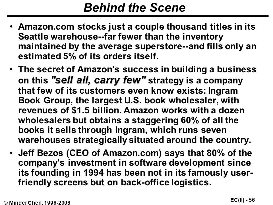 EC(II) - 56 © Minder Chen, Behind the Scene Amazon.com stocks just a couple thousand titles in its Seattle warehouse--far fewer than the inventory maintained by the average superstore--and fills only an estimated 5% of its orders itself.