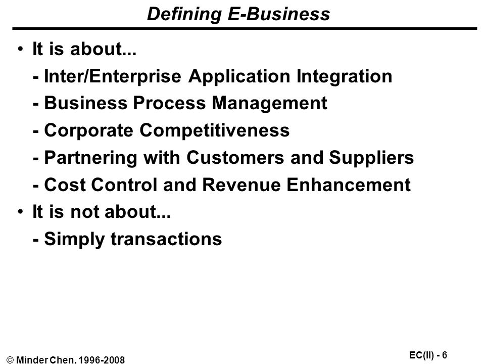 EC(II) - 6 © Minder Chen, Defining E-Business It is about...